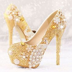 Women High Heels pearl platform Stilettos Gold Rhinestones Wedding Shoes  Fashion in Clothing 398a08efcdff