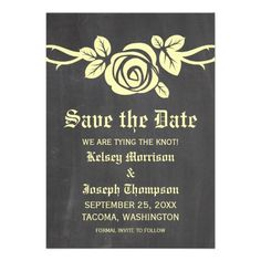 Yellow Rose Chalkboard Save the Date Invite #trendy #floral #savethedate
