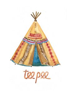 teepee Cartoon Drawings, Cute Drawings, Native Drawings, Sports Theme Classroom, Baby Canvas, Native American Patterns, Horseshoe Art, Le Far West, Watercolor Sketch
