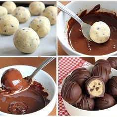 Chocolate chip cookie dough covered in chocolate 😍 Cookie Dough Truffles, Chocolate Chip Cookie Dough, Cookie Recipes, Dessert Recipes, Desserts, Yummy Treats, Yummy Food, Sweet And Salty, Diy Food