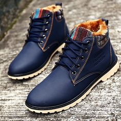 Men Winter Boots Warm Leather Blue Army Boots Fashion Waterproof Ankle Boots Plush Rubber Yellow Shoes Round Toe G5