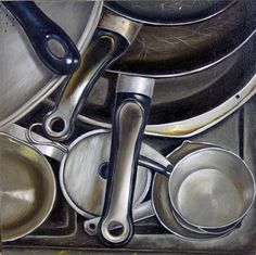Pots and Pans by Vic Vicini Still Life Drawing, Painting Still Life, Object Photography, Reflection Photography, Art Alevel, Still Life Artists, Reflection Art, Observational Drawing, Object Drawing