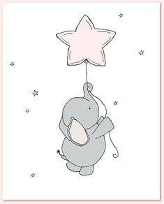 Olifant kwekerij kunst: Een aantal afdrukken van olifanten in de nachtelijke hemel, met de maan en sterren, een dromerige toevoeging aan uw kleuter. U kunt deze prenten naar alle kleuren die u kiest, hetzij uit de kleurenkaart of een foto of link, liet me enkel weten en ik kan