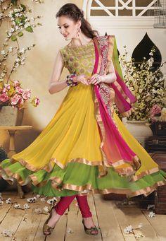 Ochre and Green Faux Georgette Readymade Anarkali Churidar Kameez Online Shopping: KHT141