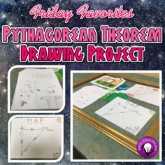 Fri Favorites: Using the Pythagorean Theorem Drawing Project Freebie from Math Teacher, Math Classroom, Teaching Math, Maths, Math Fractions, Future Classroom, Math Resources, Math Activities, Classroom Resources