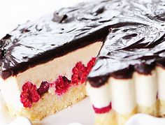 Raw white chocolate raspberry tart