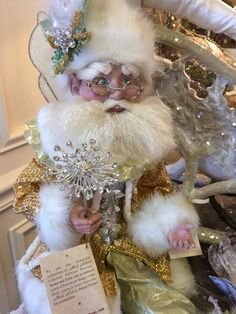 Glittering in gold, one of our fairy elves. Magical Christmas, Christmas 2014, Pink Christmas, Christmas Wreaths, Christmas Decorations, Holiday Decor, Mark Roberts Fairies, Elves, Chic