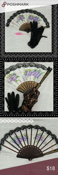 Vintage Folded Fan and Glove Set This beautifully dainty folded fan and glove set are perfect for any collector of Victorian style accessories.  Brown plastic with gold paint. Black lace trim on fan. Gloves are a size small. No holes. None Accessories Gloves & Mittens