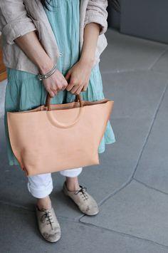 Hand Stitched Original Leather Tote Bag/ Hand Bag. $183.00, via Etsy.