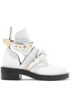 Balenciaga - Buckled Cutout Leather Ankle Boots - White - IT40.5