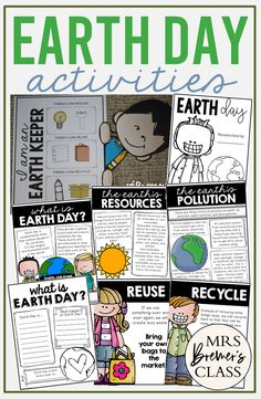 Earth Day unit activities for First Grade and Second Grade including charts, a craftivity, and worksheets 2nd Grade Activities, Earth Day Activities, Social Studies Activities, Kindergarten Activities, Science Activities, Writing Activities, Classroom Activities, Spring Activities, Earth Day Information