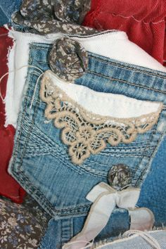Blue Jean bag rag quilt upcycled flannel rose by annetteswhimsies, $30.00