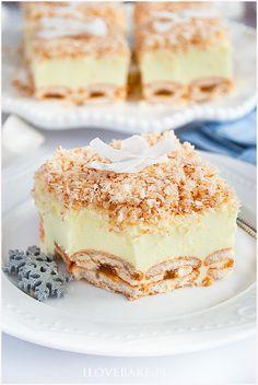 Ciasto śnieżny puch - I Love Bake Custard Slice, Banana Pudding Recipes, Yummy Food, Tasty, Breakfast Menu, I Want To Eat, Something Sweet, Vanilla Cake, Cake Recipes