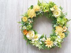 pastel yellow スプレーバラのイエローリース|フラワー・リース|Nico's flower|ハンドメイド通販・販売のCreema