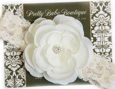 Baby Headband  Off White Cream Flower by PrettyBabyBowtique, $10.95