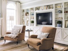 Contemporary White Seating Area with Custom Built-In Bookcase Living Room Bookcase, Bookcases, Living Room Built Ins, Built In Bookcase, Living Room Built In Cabinets, Bookshelves With Tv, Bookcase Wall Unit, Home Living Room, Living Room Designs