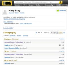 Read more about screenwriter Mary Bing on IMDb.