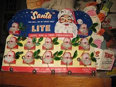 my sister and I each got this santa pin while christmas shopping with our mother in the 1950s . . . memories . . .