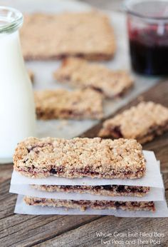 Homemade Fruit Bars Recipe on twopeasandtheirpod.com Perfect for lunches or snack time!