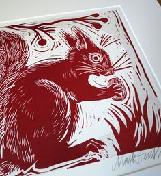 Mark Hearld - Squirrel - linocut.  Charming work that captures the fauna of the English countryside.