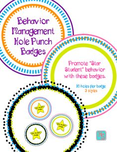 FREE Hole Punch Badges for Classroom Management