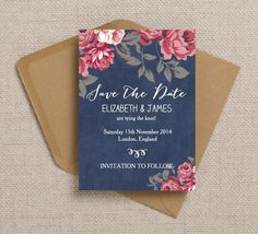 Gorgeous rustic Save the Date - instant printable, cards or magnets. Customise…