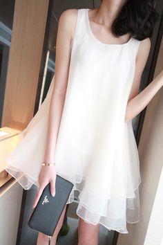IXXN hazy beauty irregular three-dimensional organza tutu skirt white silk dress vest dress Dresses