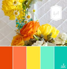 This is THE final choice for my wedding color palette // turquoise teal yellow and tangerine (orange)! Perfect for a fall wedding! by doreen. Summer Wedding Colors, Summer Colors, Fall Wedding, Trendy Wedding, Wedding Yellow, Tropical Colors, Tangerine Wedding, Wedding Table, Coral Bathroom Decor