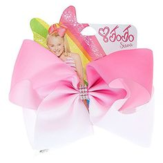 Claire's JoJo Siwa Siwa Bows for Girls - Large White and Pink Bow in Ombre Design with Metal Salon Clip and Rhinestones - JoJo Siwa Hair Accessory Signature Collection Jojo Siwa Hair, Jojo Siwa Bows, White Hair Bows, Pink Hair Bows, Claires Bows, Jojo Jojo, Jojo Siwa Birthday, Girly, Ombre Color