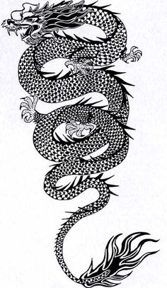 Black-ink extra-long crawling chinese dragon tattoo design