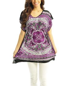 Another great find on #zulily! Purple Dynasty Cape-Sleeve Tunic #zulilyfinds