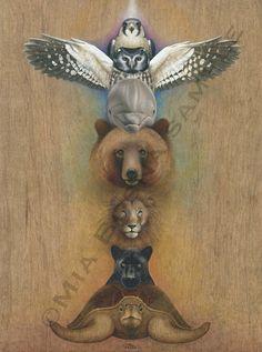 Chakra Animal Totem Pole Print by Bosnart on Etsy, $25.00
