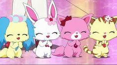 Jewelpet - blue dog, white bunny, pink cat, orange cat