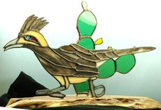 Handmade Stained glass Roadrunner and Cactus by glassnwood on Etsy, $45.00