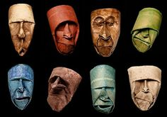 Toillet roll faces from a artist