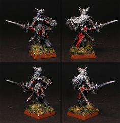Female Vampire warrior or knight - miniature painted for Warhammer Fantasy Battle, or Age of Sigmar if need be. Female vampire foot knight, model used: Monique Denoir from Reaper Miniatures. She would be a Soulblight Vampire in AoS. Death Grand Alliance.