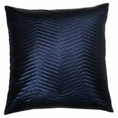 """Showcasing a chevron motif in navy, this eye-catching pillow lends artful intrigue to your living room or den.  Product: PillowConstruction Material: Faux linen coverColor: NavyFeatures: Sequin designInsert includedDimensions: 16"""" x 16"""""""