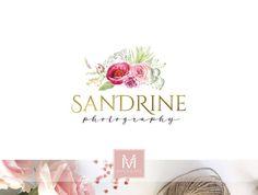 Wedding Floral Logo ,Romantic Logo, Watercolor Logo, Peonies Logo, Photography Logo, Boutique Logo ,Shabby Chic Logo, Watermark