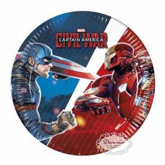 Captain America Civil War. paptallerkner. 19,5 cm  8 stk - børnefødselsdag - borddækning - bordpynt - inspiration - diy Superman, Batman, Captain America Civil War, Superhero Party, Paper Plates, Hulk, Iron Man, Avengers, Ebay