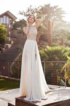 Sleeveless High Neck Backless Chiffon Prom Dresses Evening Dresses PG411