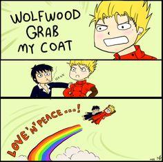 Wolfwood grab my coat by RyokoSanBrasil ...my fave version of this rainbow meme thing! Love 'n' Peace