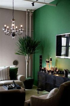 Living room color design – 28 ideas in green – decor store 2018 Living Room Green, Living Room Paint, Home And Living, Living Room Decor, Bedroom Green, Bedroom Colors, Living Area, Bedroom Black, Modern Living