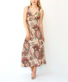 Another great find on #zulily! Taupe & Mauve Floral V-Neck Sleeveless Maxi Dress #zulilyfinds