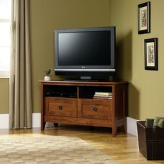Amazon.com - Sauder August Hill Corner Entertainment Stand, Oiled Oak Finish - Tv Stand
