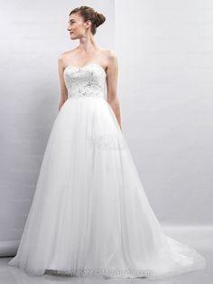 BallGown Sweetheart Tulle Satin Sweep Train White Beading Wedding Dresses
