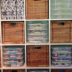 My storage containers in my big Ikea storage unit, the black and white scrolled in the upper left hold tutorials and jewelry magazines etc...