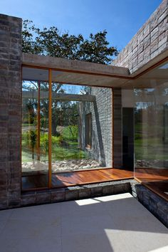 Wooden Home Corridor in Rear Home with Wooden Floors and Wide Glass Walls from Ecuador Extraordinary Modern Glass Home
