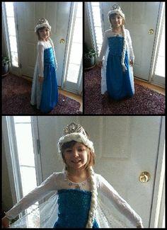Frozen Elsa costume handmade.  Disney Elsa crown with yarn wig.