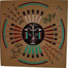 Navajo Sand Painting - Sun & Eagle - Sacred Plants - Vintage from ...