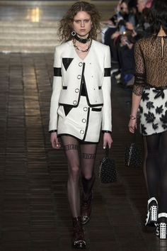 Alexander Wang Fall/Winter 2016-2017 FW 17 Black and white skirt suit tuxdo, dark panties with message, choker, grunge style